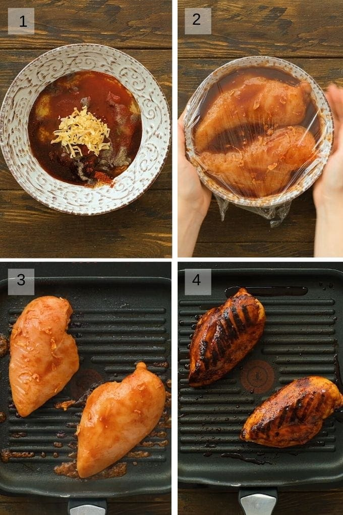 Four image collage showing bowl with marinade ingredients then bowl with chicken and marinade then grilling chicken on grill pan