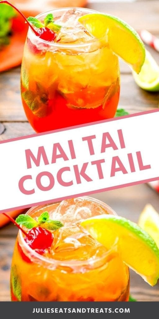 Collage with top image of a mai tai in a glass with a lime wedge and cherry, middle banner with pink text reading mai tai cockatil, and bottom image up close of the rim of a mai tai cocktail in a glass