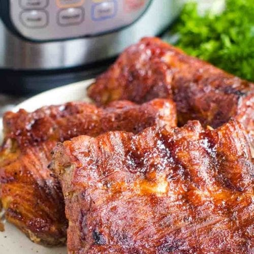 Easy Instant Pot Ribs recipe on plate