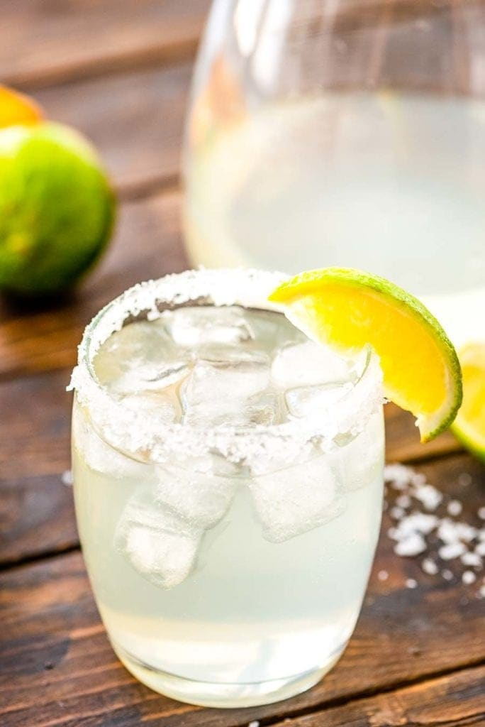 Prepared margarita in glass with garnish