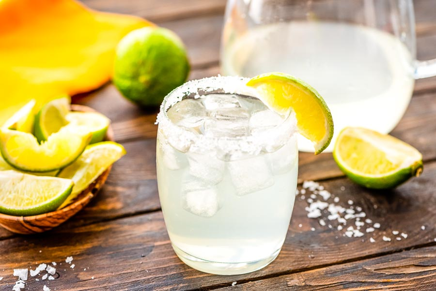 Margarita Recipe in glass with lime