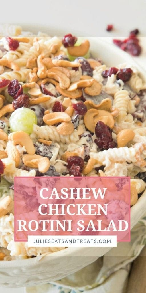 Cashew Chicken Rotini Salad in a white mixing bowl