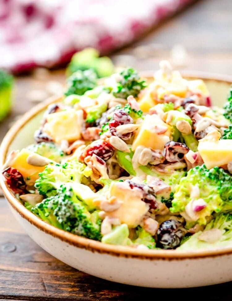 Broccoli Salad prepared in bowl