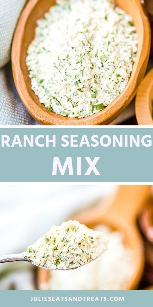 Collage with ranch seasoning in a wood bowl, middle blue banner with white text reading ranch seasoning mix, and bottom image of ranch seasoning in a spoon