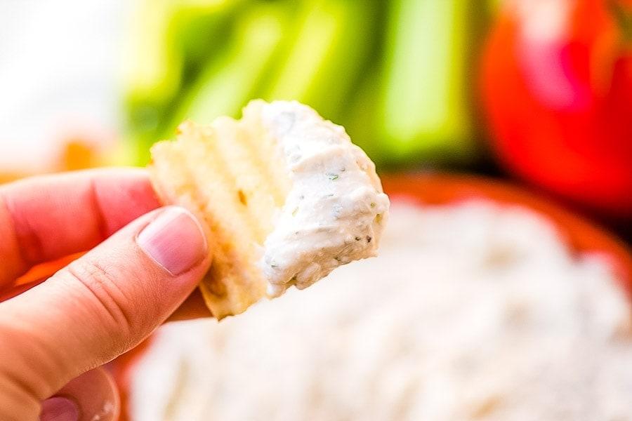 Ranch Dip recipe prepared on potato chip