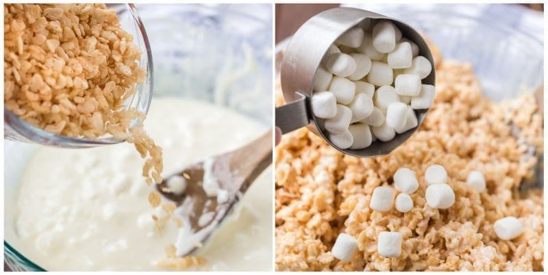 Rice Krispie Treats Collage of making recipe