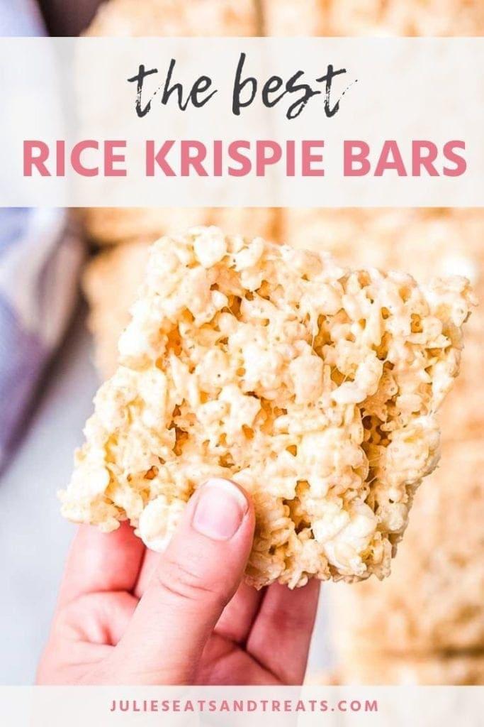 Hand holding a rice krispie bar