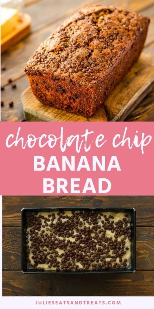 Collage with top image of a loaf of chocolate chip banana bread, middle pink banner with white text reading chocolate chip banana bread, and bottom image of uncooked banana bread in a bread loaf pan