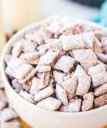 Muddy Buddies in white bowl