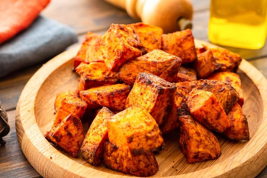 plate of air fryer sweet potatoes