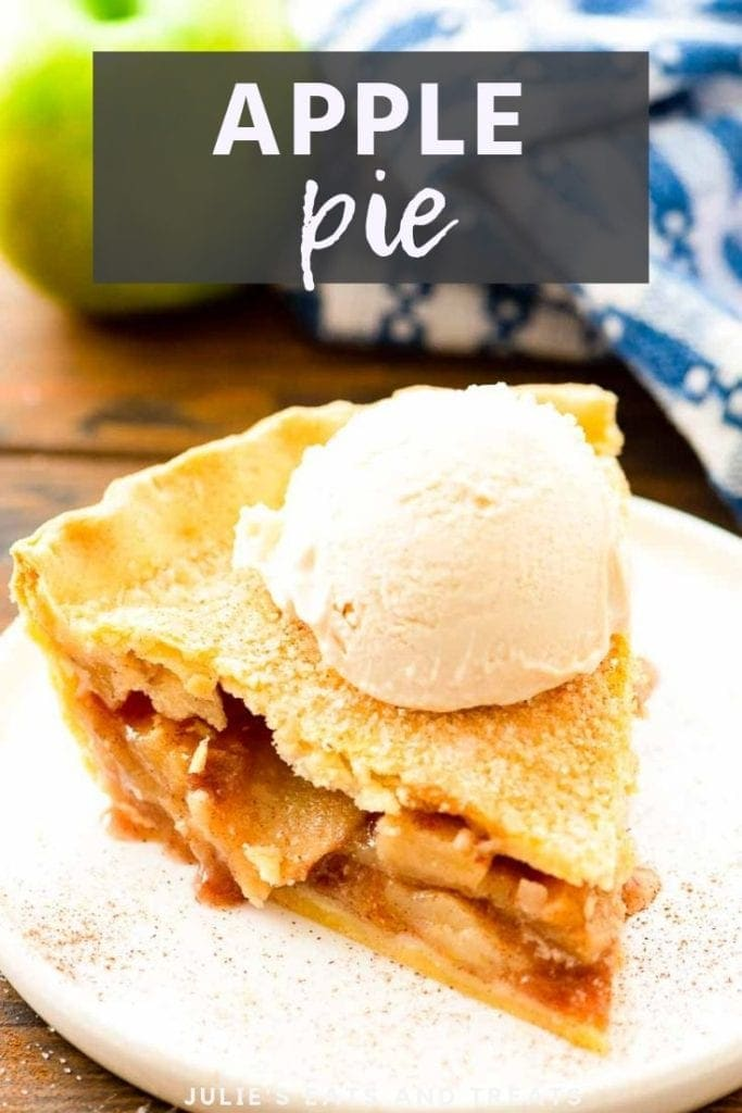 apple pie slice with a scoop of vanilla ice cream on top