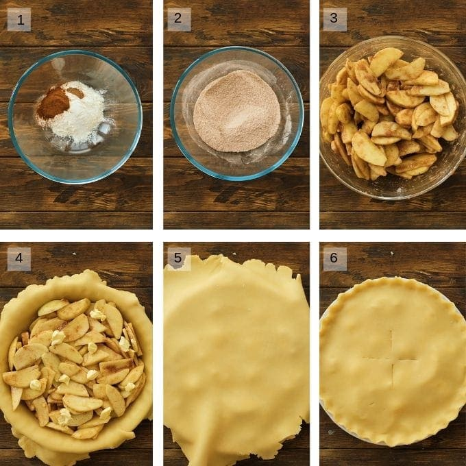apple pie picture collage showing steps to preparing pie