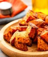 roasted air fryer sweet potatoes on plate