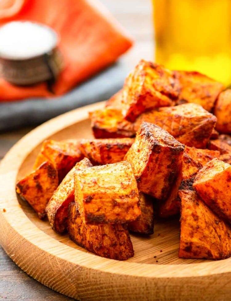 roasted air fryer sweet potatoes on plate