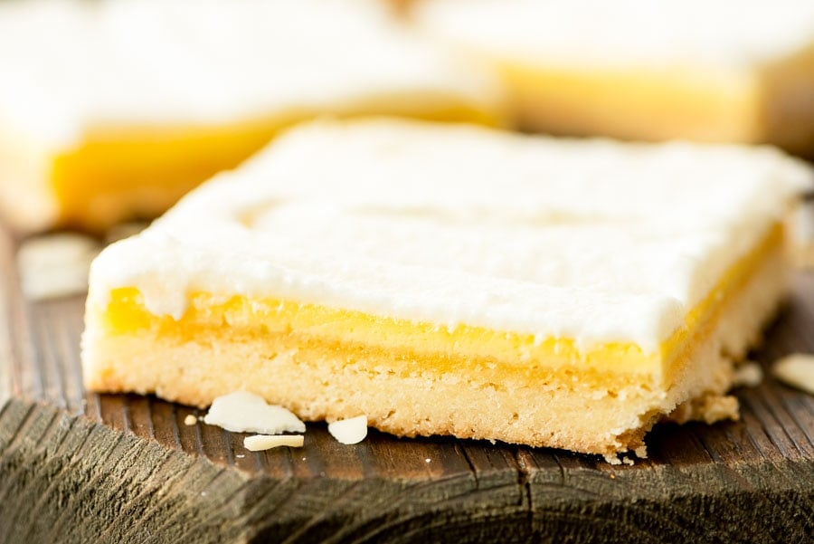 Bar with a shortbread crust, almond filling and frosting on top