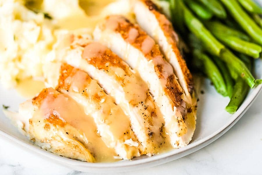 Crock Pot Turkey Breast Slices on plate
