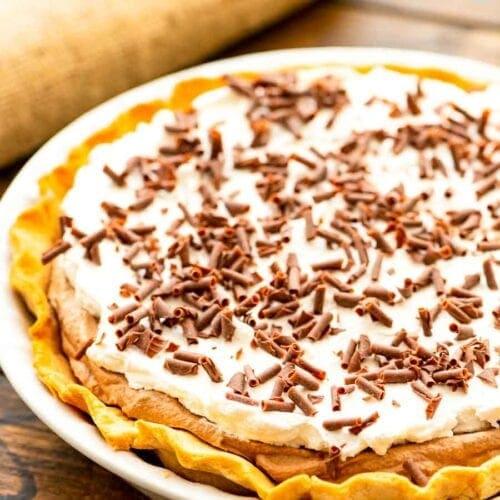 White Pie Dish with French Silk Pie