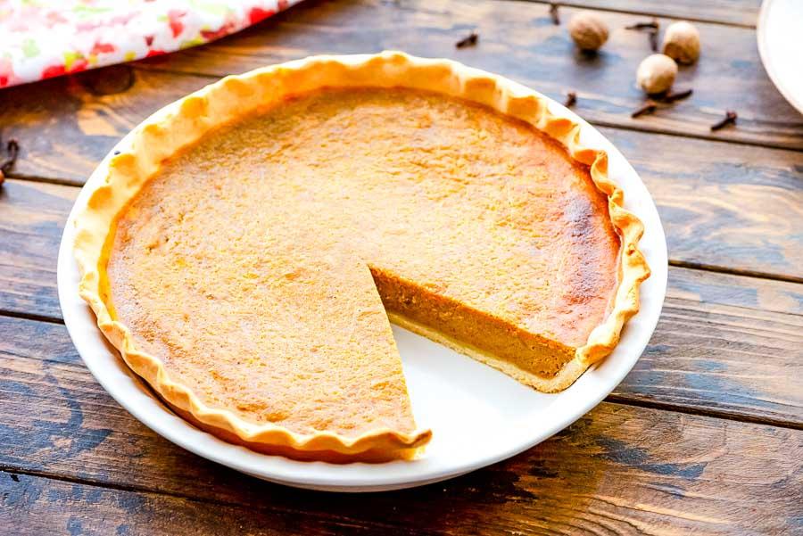 Homemade Pumpkin Pie in pie plate