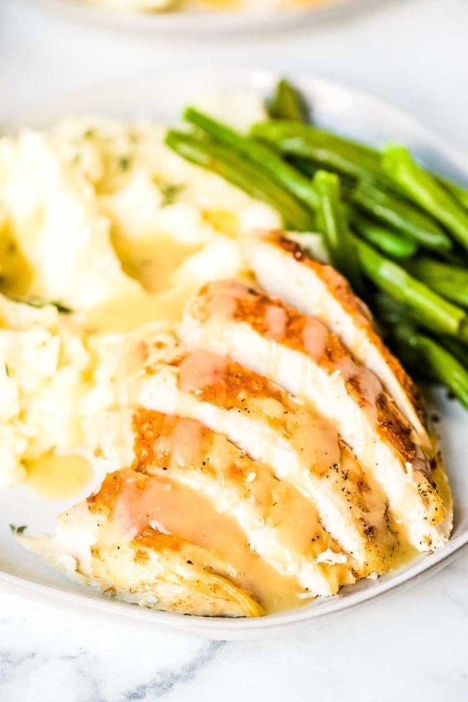 Slices of turkey on plate