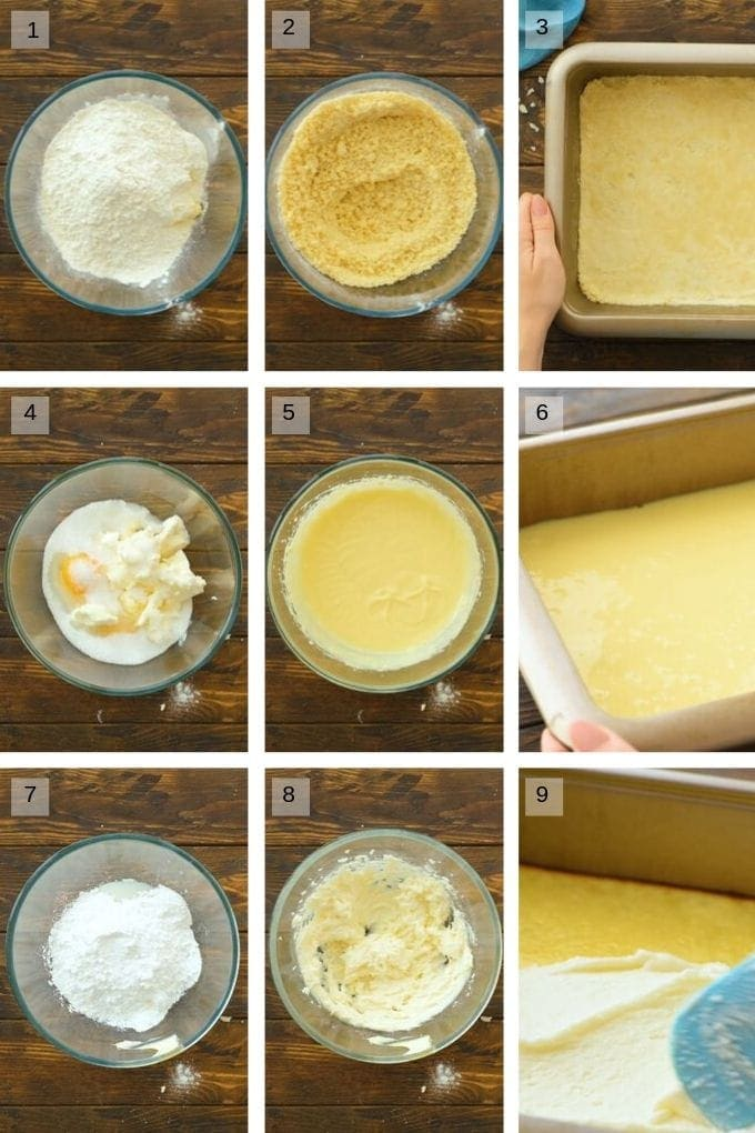A collage of nine photos showing how to make homemade almond bars