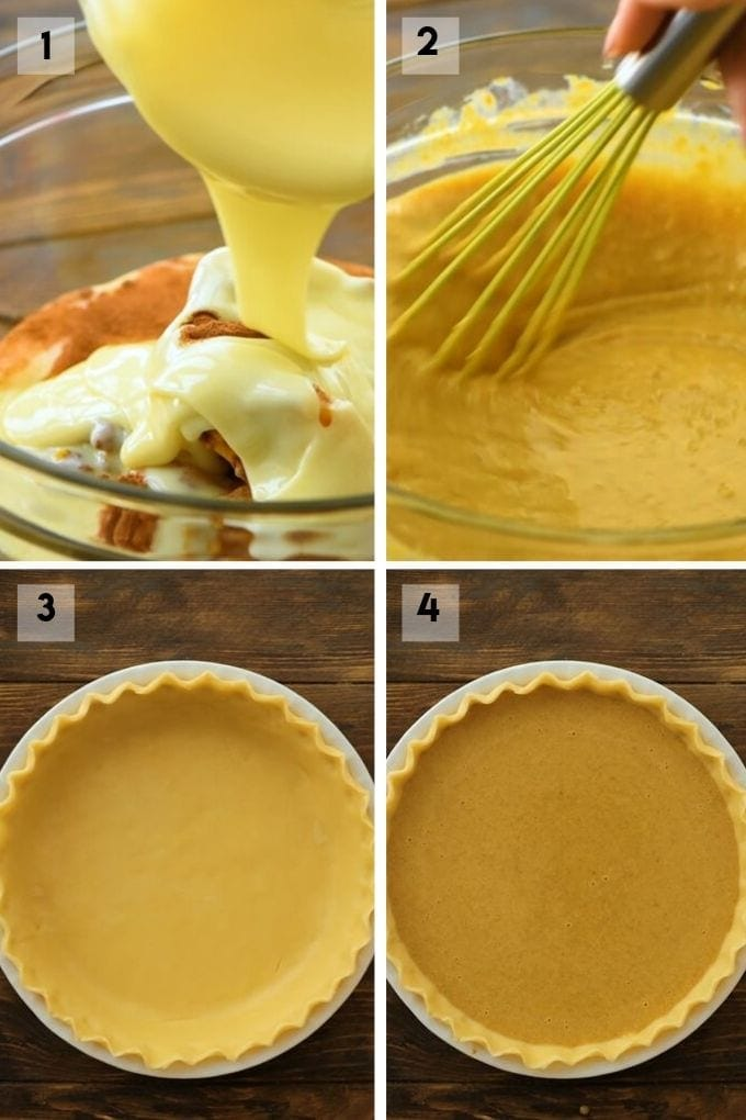 Collage of four pictures showing how to make a pumpkin pie