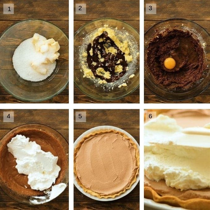 Collage of process shots of making french silk pie