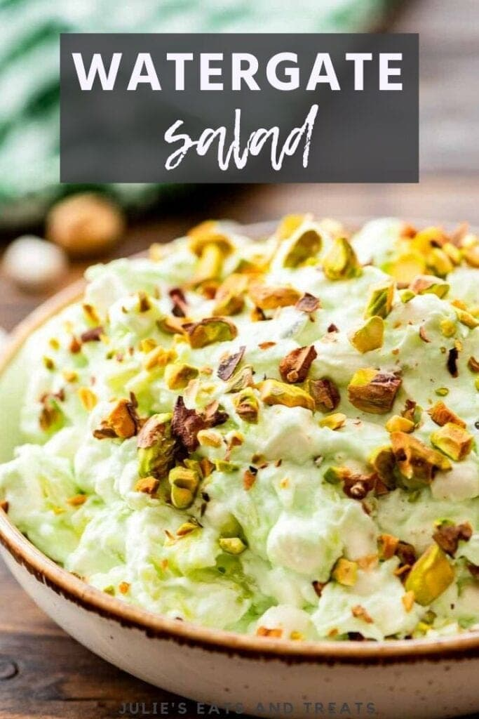 Brown bowl of Watergate Salad topped with pistachios