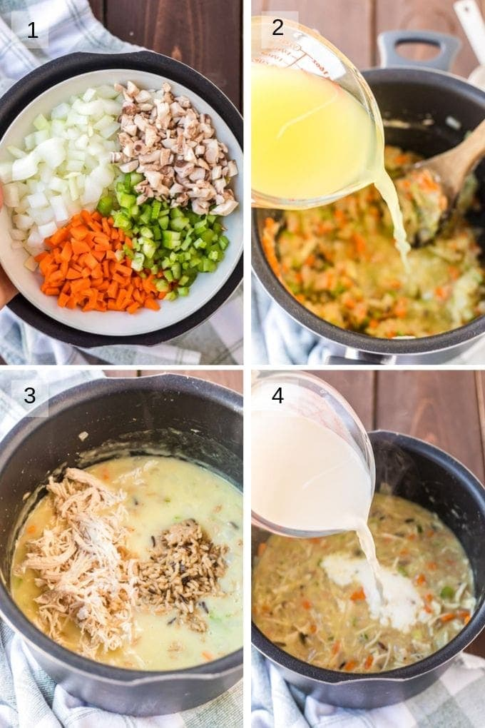 wild rice soup process photos collage