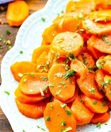 Glazed carrots on white platter