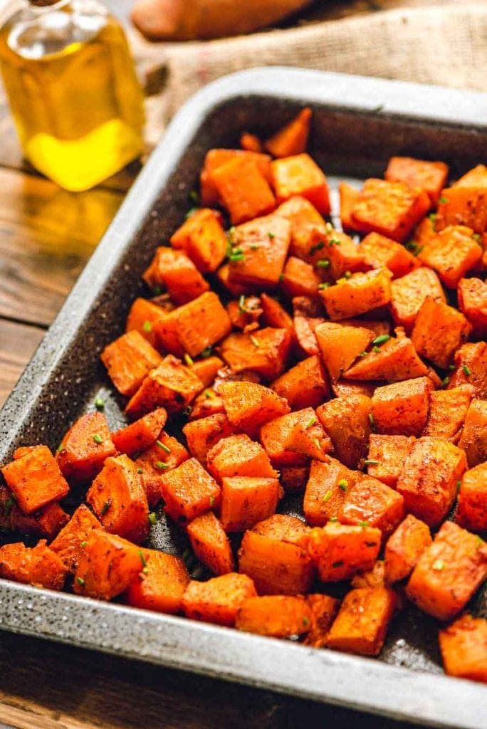 Roasted Sweet Potatoes on Sheet Pan