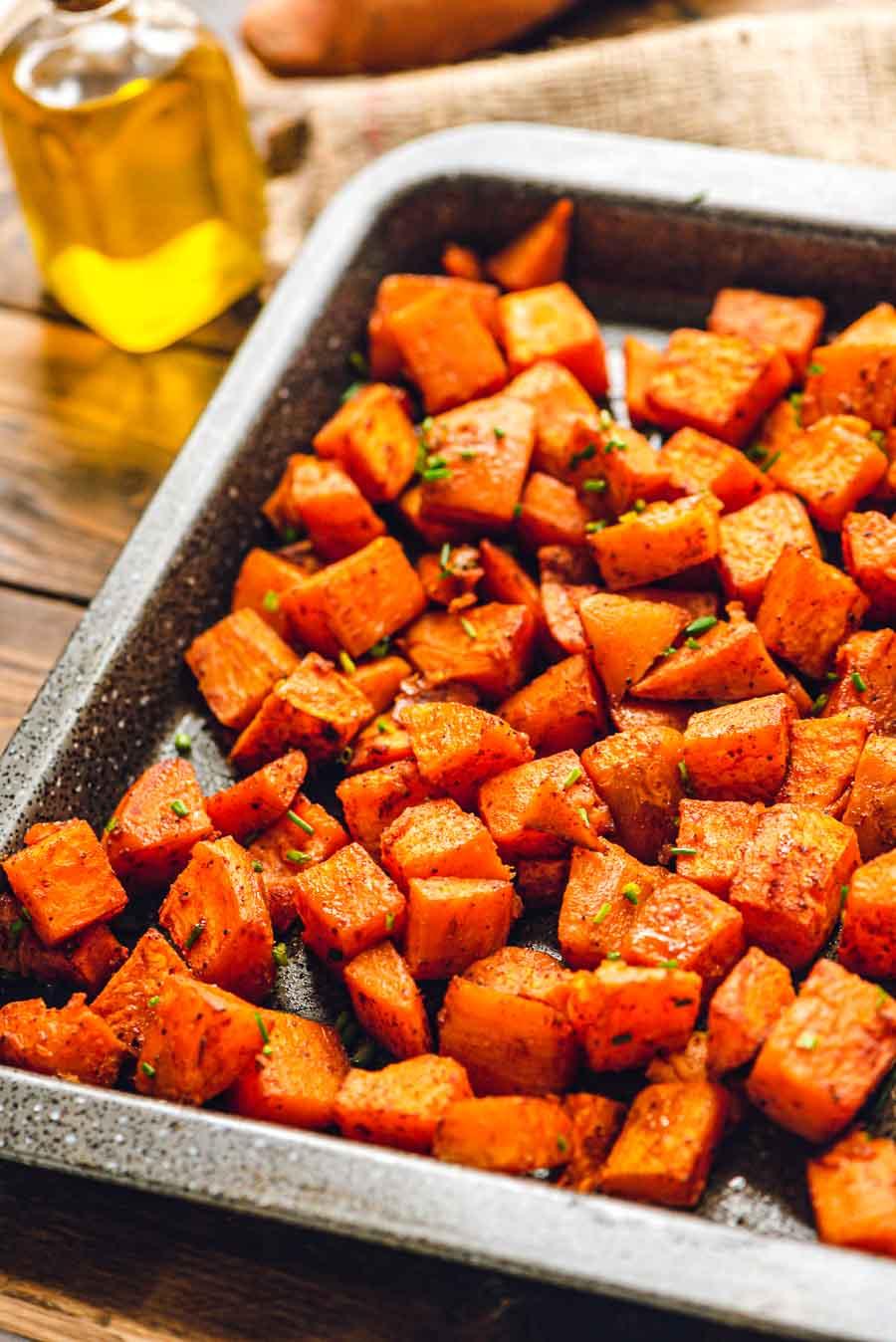 Roasted Sweet Potatoes on Sheet Pan