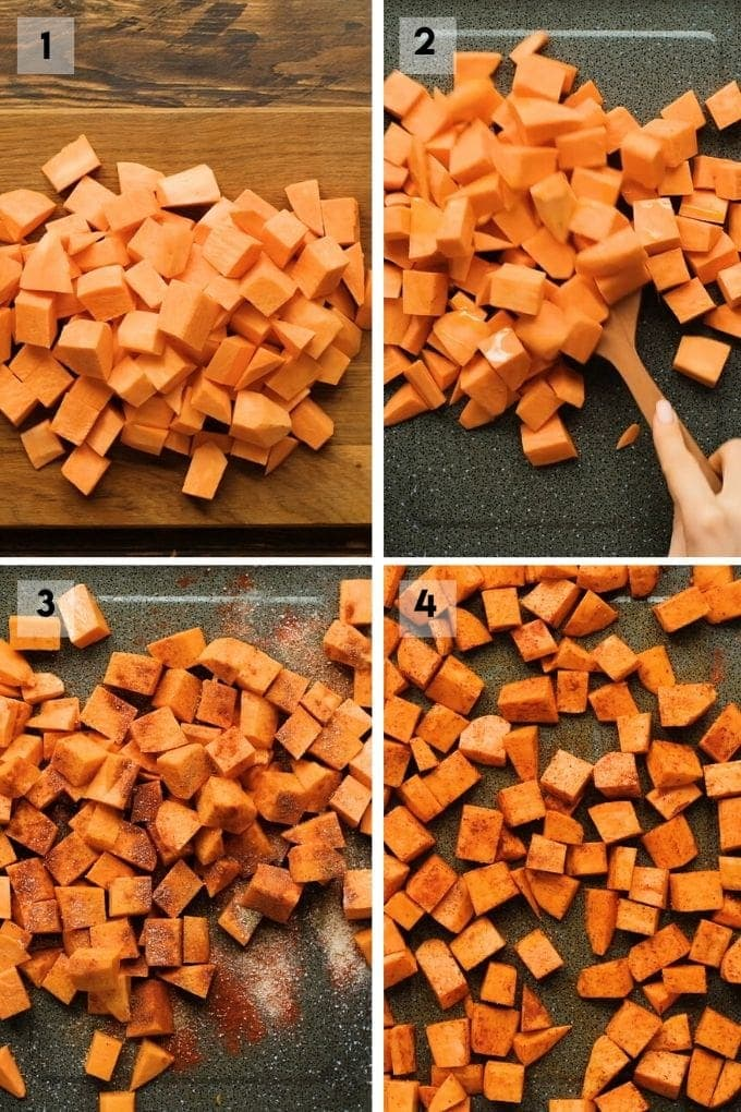 Photo collage on how to make roasted sweet potatoes