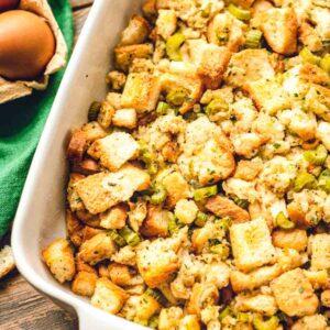 Stuffing in white casserole dish
