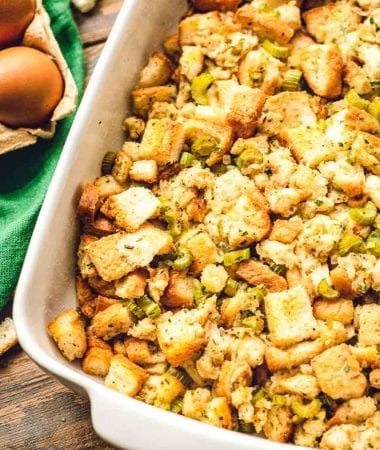 Stuffing in white casserole dish