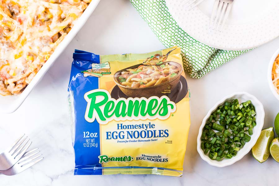 reames egg noodles on white background