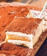 Slice of Tiramisu on spatula