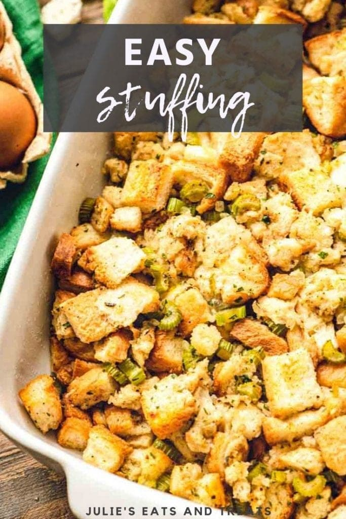 Easy stuffing in a white casserole dish