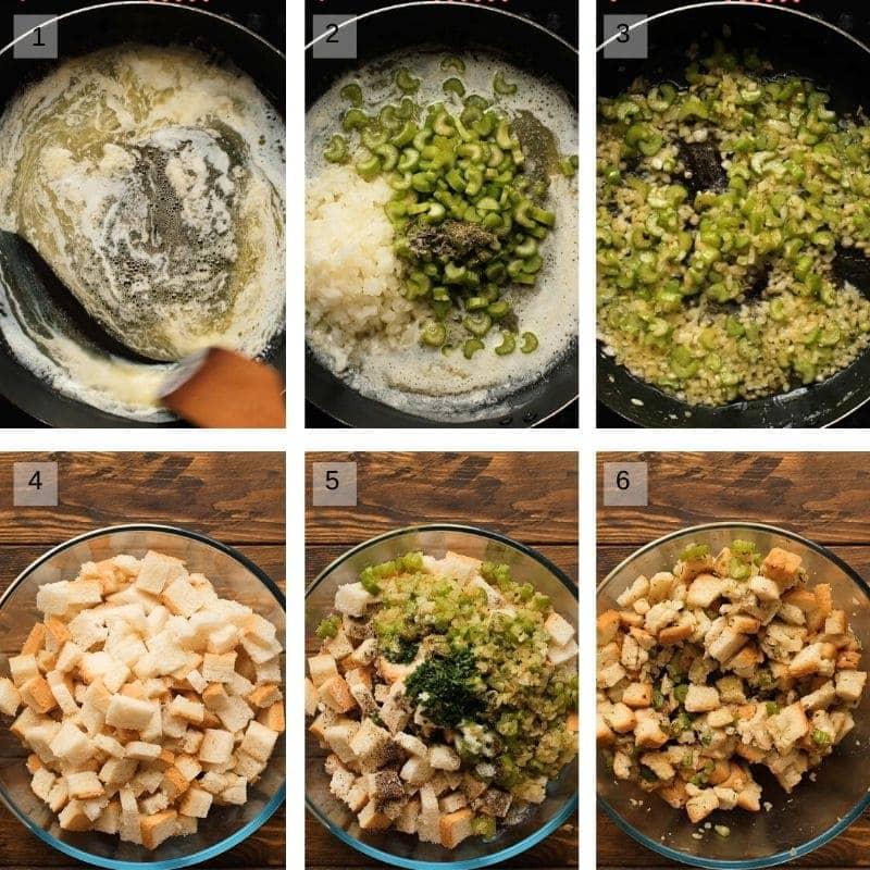 Step by Step photos of making stuffing