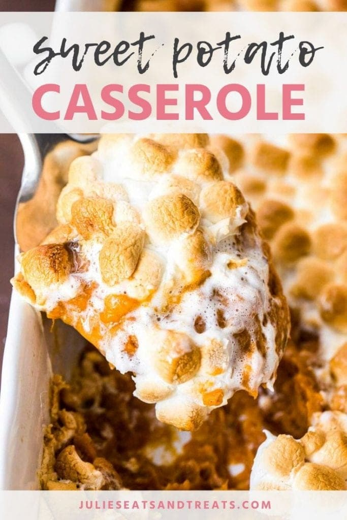 Sweet potato casserole topped with toasted marshmallows being scooped out of the baking dish