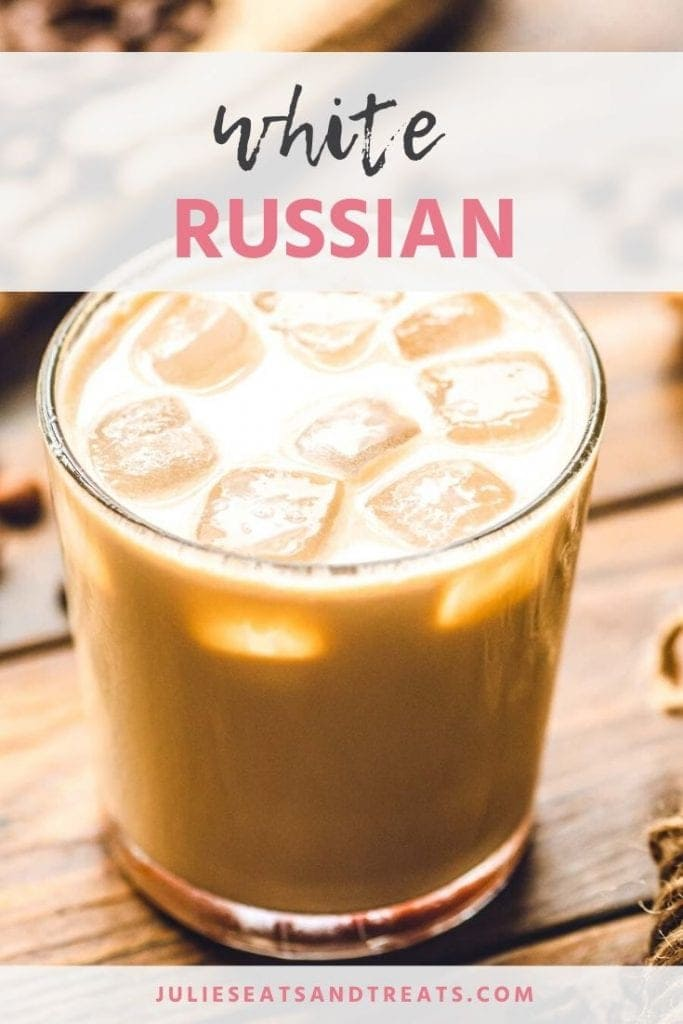White russian cocktail in a glass with ice