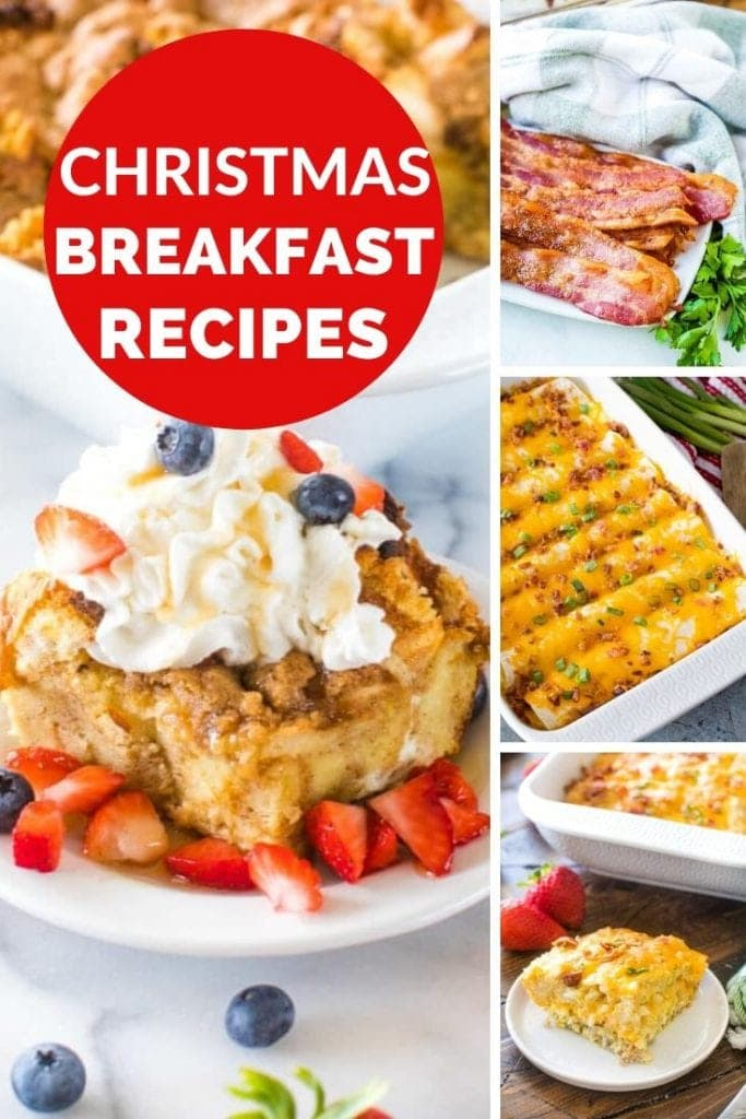 Four images of breakfast foods with a red circle around text reading christmas breakfast recipes