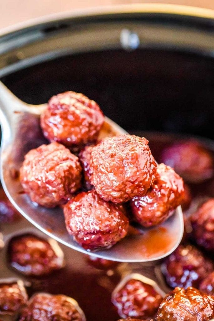 Grape Jelly Meatballs on spoon