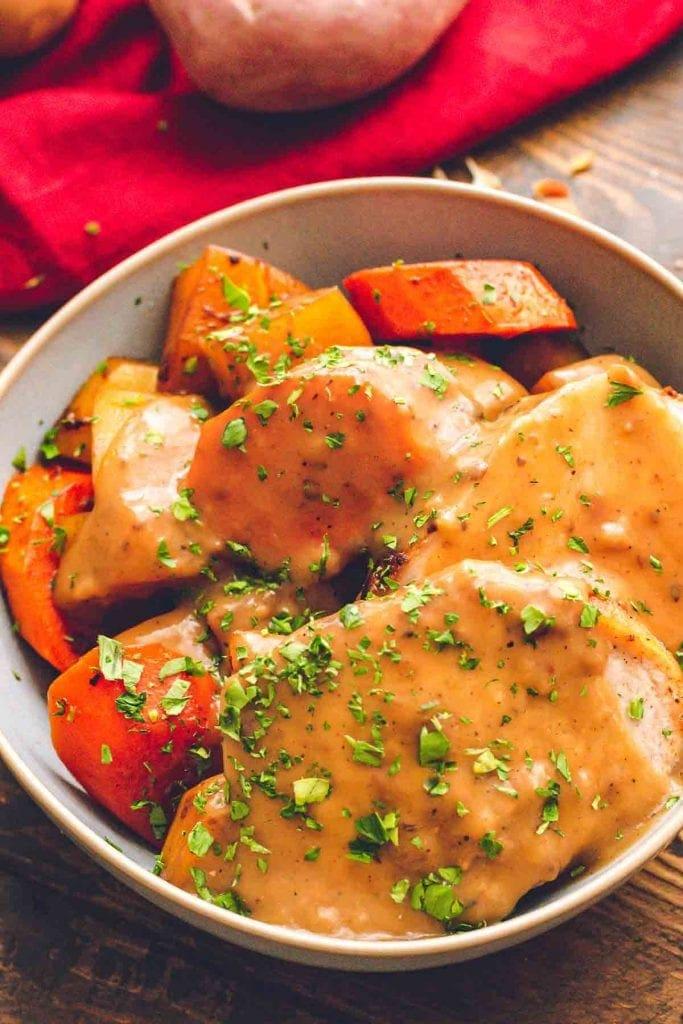 Pork roast and vegetables in bowl
