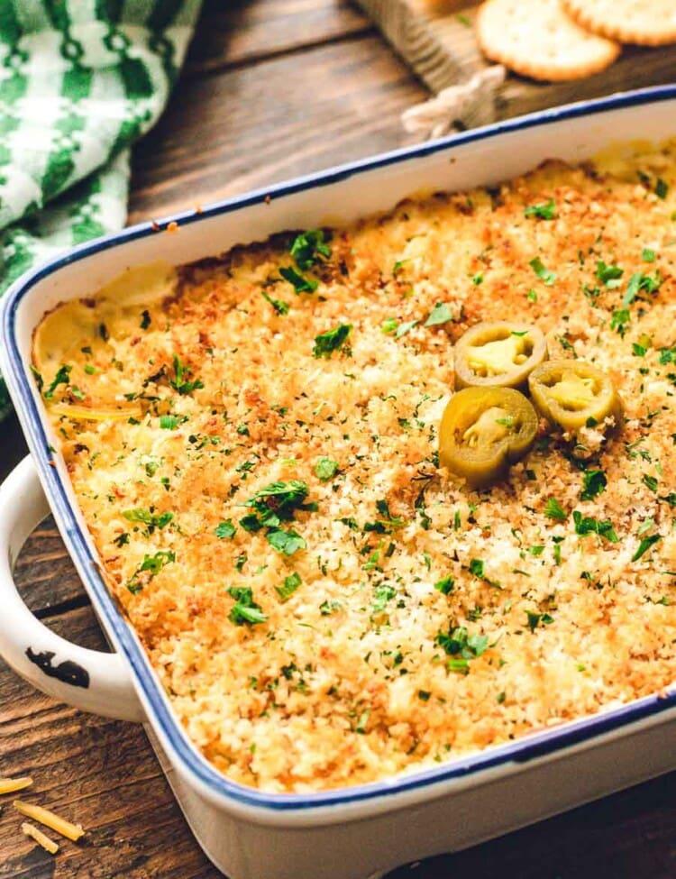 Casserole dish of jalapeno Popper Dip