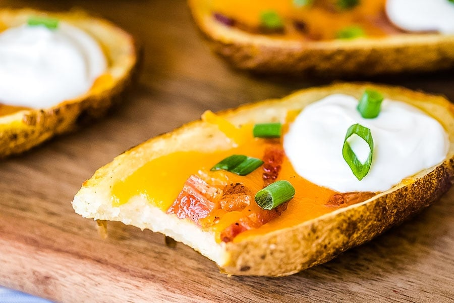 Potato Skin with bite out of it