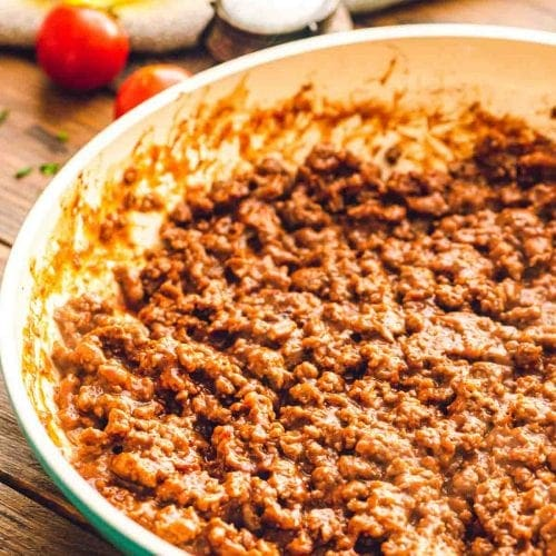 Pan of homemade taco meat