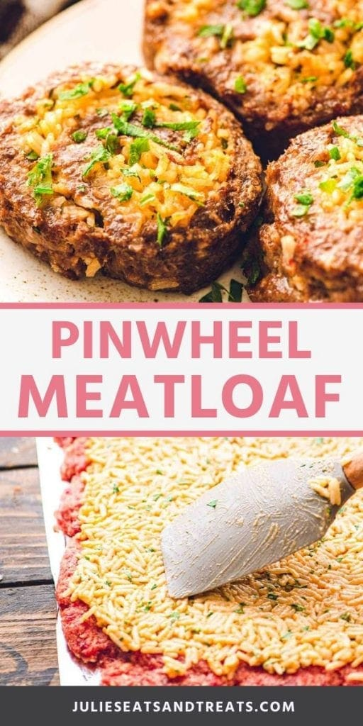 Pinwheel meatloaf collage. Top image close up of three pinwheel meatloaves on a plate, bottom image of spreading rice over raw meat