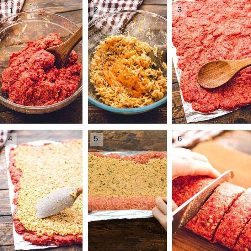 Collage of step by step photos to make meatloaf