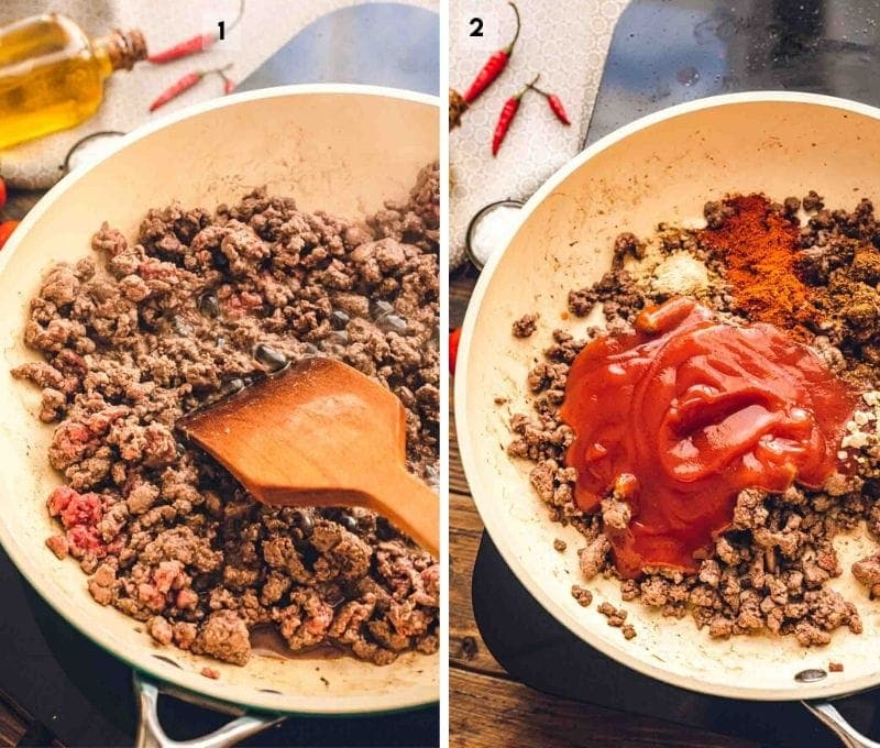 Collage of photos to make taco meat