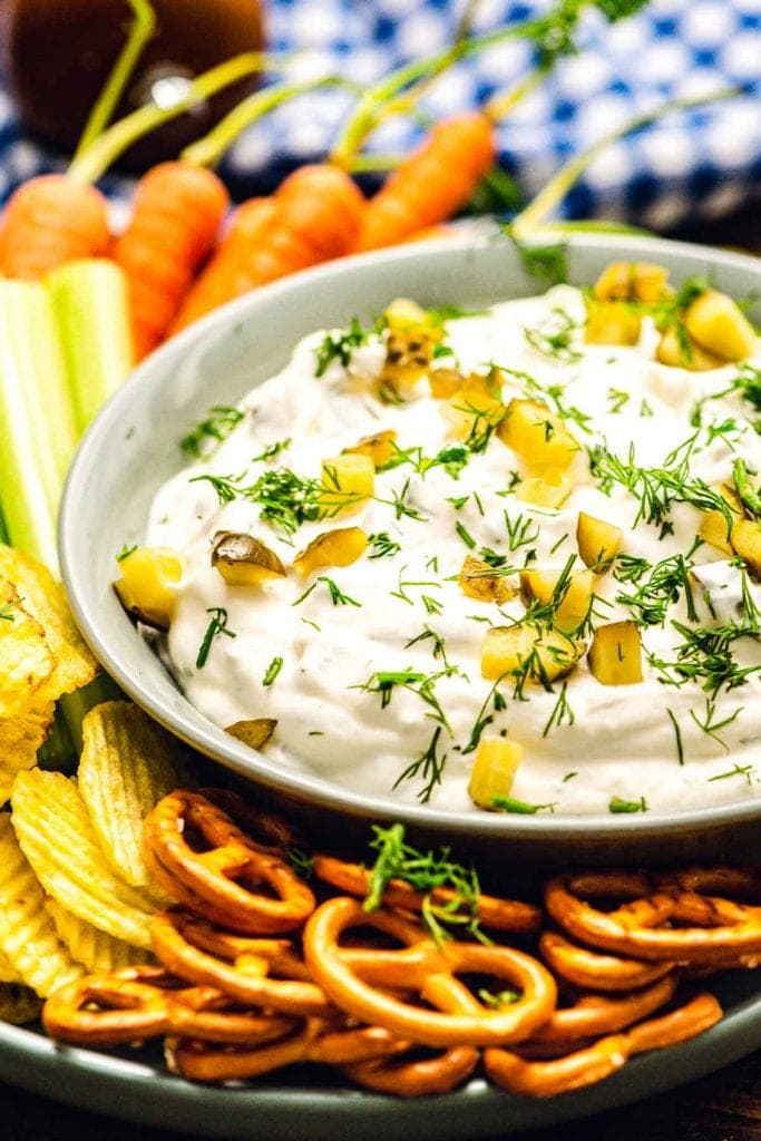 bowl with dill pickle dip
